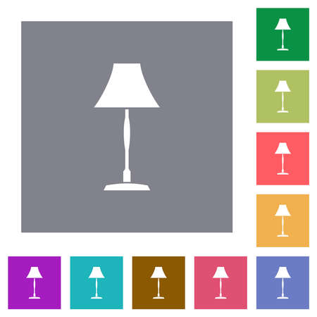 Standing lampshade flat icons on simple color square backgrounds