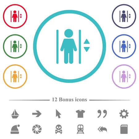 Elevator flat color icons in circle shape outlines. 12 bonus icons included. Illusztráció