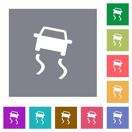 Slippery road dashboard indicator flat icons on simple color square backgrounds