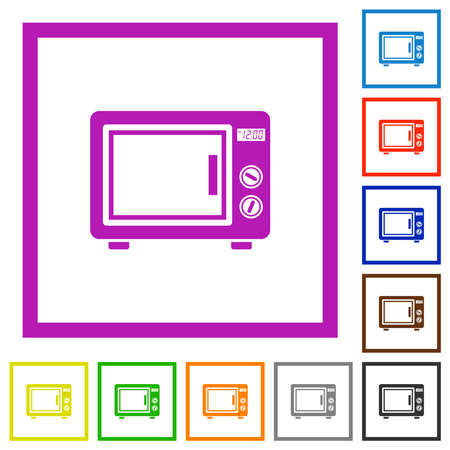 Microwave oven flat color icons in square frames on white background