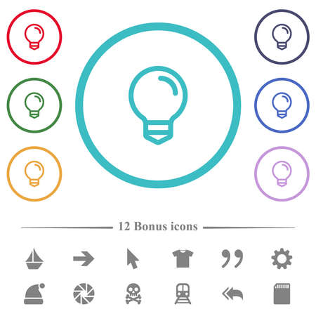 Light bulb flat color icons in circle shape outlines. 12 bonus icons included.