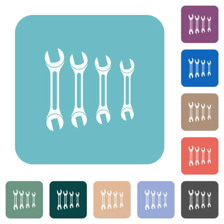 Set of wrenches white flat icons on color rounded square backgrounds