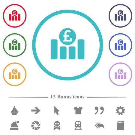 Pound financial graph flat color icons in circle shape outlines. 12 bonus icons included. Ilustração