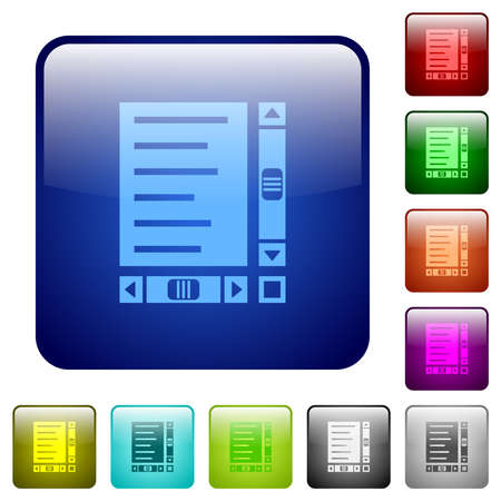 Document with content and scroll bars icons in rounded square color glossy button set