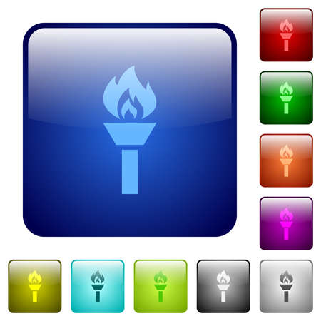 Torch icons in rounded square color glossy button set