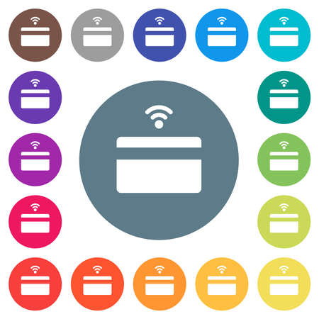 Contactless credit card flat white icons on round color backgrounds. 17 background color variations are included.