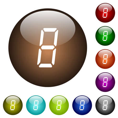 digital number eight of seven segment type white icons on round glass buttons in multiple colors
