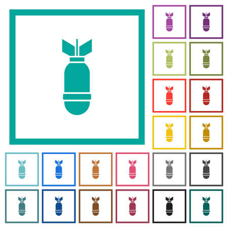 Air bomb flat color icons with quadrant frames on white background