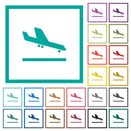 Airplane landing flat color icons with quadrant frames on white background