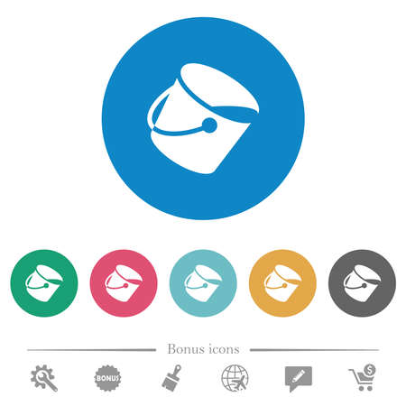 Paint bucket flat white icons on round color backgrounds. 6 bonus icons included. 免版税图像 - 157997098