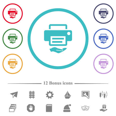 Shared printer flat color icons in circle shape outlines. 12 bonus icons included.