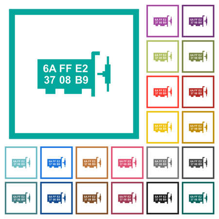 Network mac address flat color icons with quadrant frames on white background