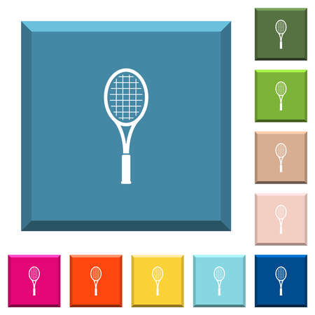 Single tennis racket white icons on various trendy colors