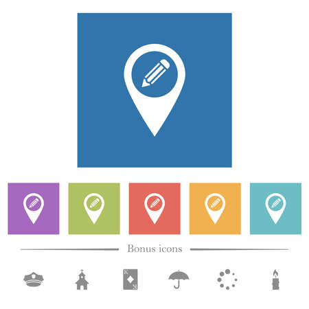 Edit GPS map location flat white icons in square backgrounds. 6 bonus icons included. 일러스트