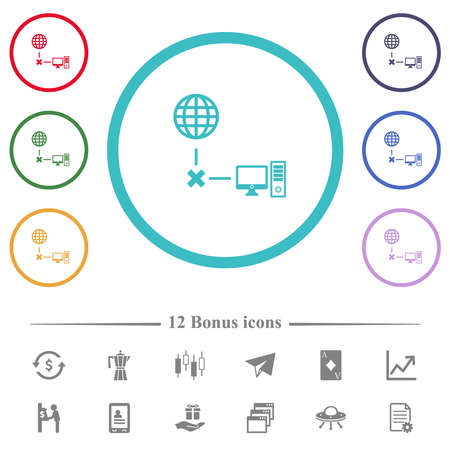 Offline computer flat color icons in circle shape outlines. 12 bonus icons included.
