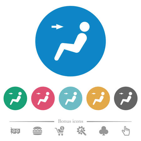 Car air flow direction head flat white icons on round color backgrounds. 6 bonus icons included.
