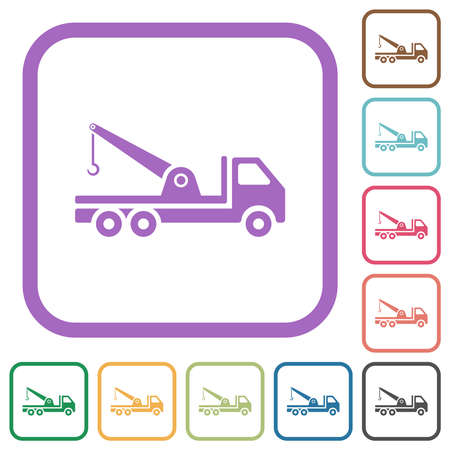 Crane truck simple icons in color rounded square frames on white background