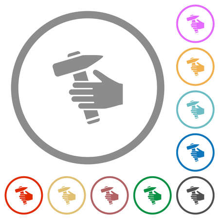 Hammer in hand flat color icons in round outlines on white background