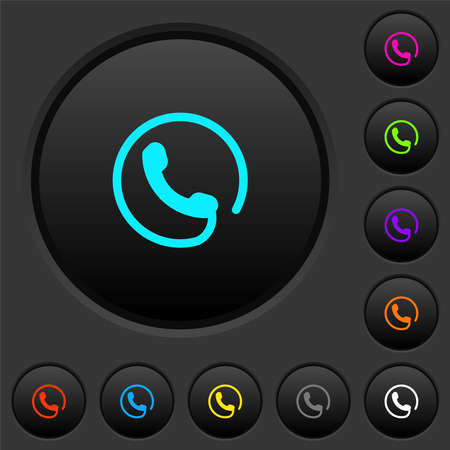 Hotline dark push buttons with vivid color icons on dark gray background
