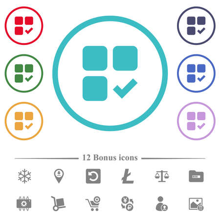 Component ok flat color icons in circle shape outlines. 12 bonus icons included.