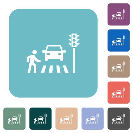 Pedestrian crossing white flat icons on color rounded square backgrounds
