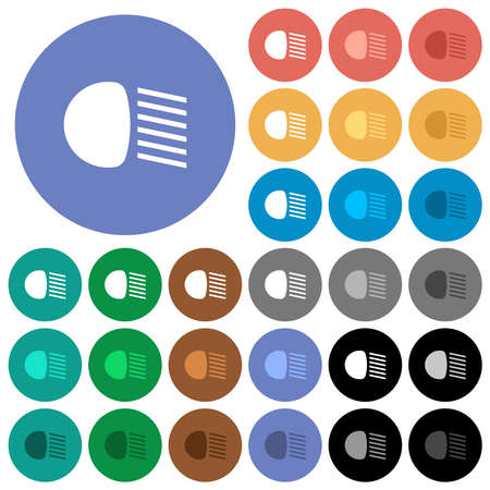 Dipped beam lights multi colored flat icons on round backgrounds. Includes white, light and dark icon variations for hover and active status effects, and bonus shades.