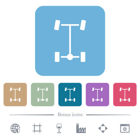 Rear differential white flat icons on color rounded square backgrounds. 6 bonus icons included