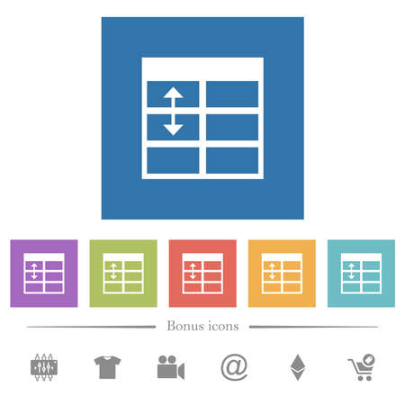 Spreadsheet adjust table row height flat white icons in square backgrounds. 6 bonus icons included.