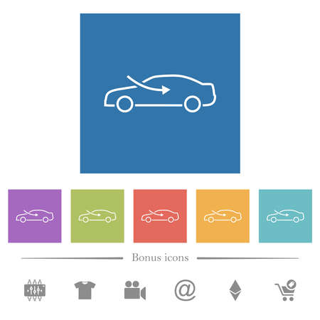 car airflow adjustment external flat white icons in square backgrounds. 6 bonus icons included.