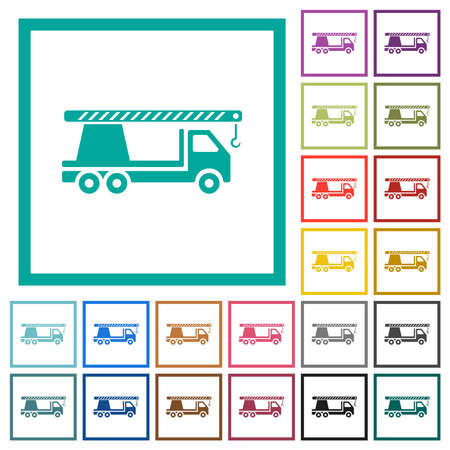 Crane truck flat color icons with quadrant frames on white background