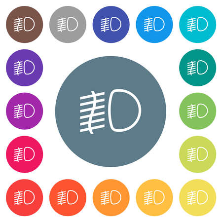 Fog lights flat white icons on round color backgrounds. 17 background color variations are included.