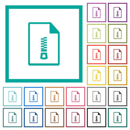 Compressed document flat color icons with quadrant frames on white background