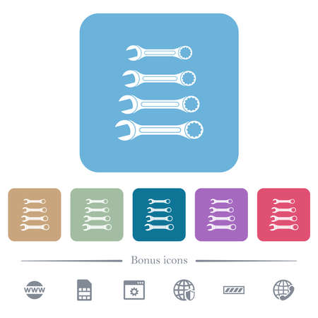 Set of wrenches white flat icons on color rounded square backgrounds. 6 bonus icons included