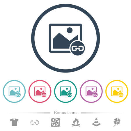 Link image flat color icons in round outlines. 6 bonus icons included. Stock Illustratie