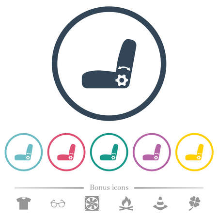 Car seat adjustment flat color icons in round outlines. 6 bonus icons included.