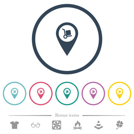 Parcel delivery GPS map location flat color icons in round outlines. 6 bonus icons included.
