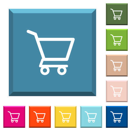 Empty shopping cart white icons on edged square buttons in various trendy colors