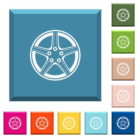 Alloy wheel white icons on edged square buttons in various trendy colors