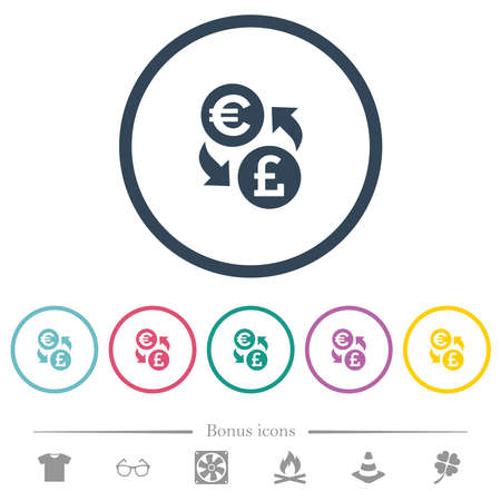 Euro Pound money exchange flat color icons in round outlines. 6 bonus icons included.