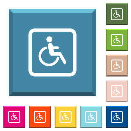 Handicapped parking white icons on edged square buttons in various trendy colors