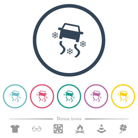 Snowy road dashboard indicator flat color icons in round outlines. 6 bonus icons included.