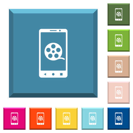 Mobile movie white icons on edged square buttons in various trendy colors