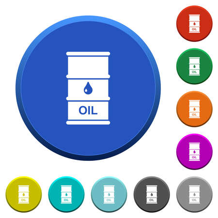 Oil barrel round color beveled buttons with smooth surfaces and flat white icons