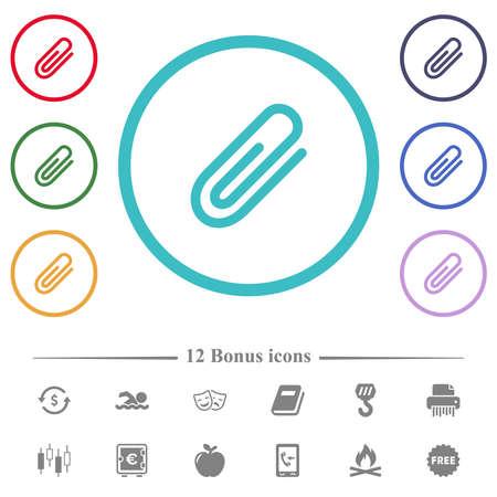Attachment flat color icons in circle shape outlines. 12 bonus icons included. Vektoros illusztráció