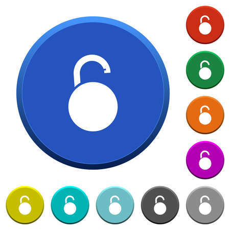 Unlocked round padlock round color beveled buttons with smooth surfaces and flat white icons