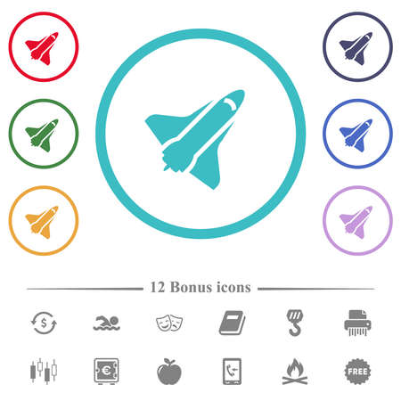 Space shuttle flat color icons in circle shape outlines. 12 bonus icons included.