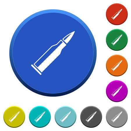 Bullet rifle ammo with gloss round color beveled buttons with smooth surfaces and flat white icons