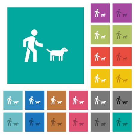 Dog walking multi colored flat icons on plain square backgrounds. Included white and darker icon variations for hover or active effects.