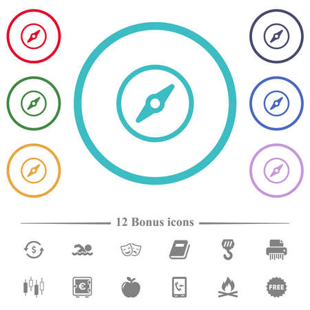 Simple compass flat color icons in circle shape outlines. 12 bonus icons included.