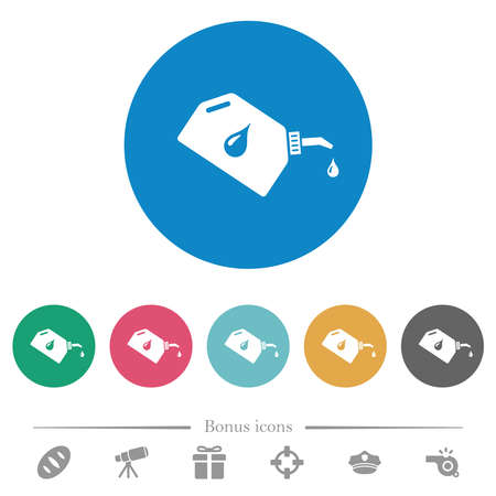 Oiler with oil drop flat white icons on round color backgrounds. 6 bonus icons included.
